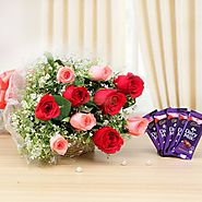 Surprise him by sending flowers at Midnight on valentines day from Yuvaflowers