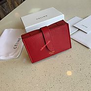 Celine Accordeon Card Holder In Grained Calfskin Red