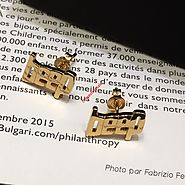 Celine Alphabet beep Studs Earrings In Brass With Gold Finish Gold Outlet Celine Cheap Sale Store