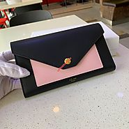 Celine Large Patchwork Trifold Wallet In Smooth Calfskin Black/Pink Outlet Celine Cheap Sale Store