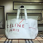 Celine Made In Tote Canvas White Outlet Celine Cheap Sale Store