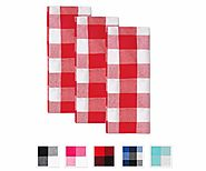 Buffalo Checked Dishtowels - Cotton Dishtowels - Checkered Kitchen Towels - Red and White - Set of 3 - All Cotton and...