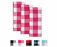 Buffalo Checked Dishtowels - Cotton Dishtowels - Kitchen Dish Towels - Pink and White - Set of 3 - All cotton and linen