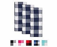 Buffalo Checked Dishtowels - Cotton Dishtowel - Tea Towels - Kitchen Dish Towel - Blue and White - Set of 3 - All Cot...