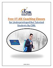 Free IIT-JEE Coaching Classes for Underprivileged but Talented Students by CSRL