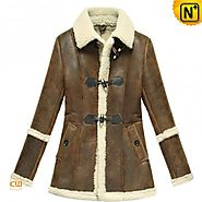 CWMALLS® Custom Women Vintage Shearling Coat CW614022