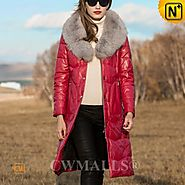 CWMALLS® Fox Fur Leather Down Coat Red CW651007