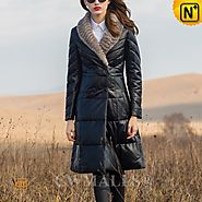CWMALLS® Mink Fur Trim Leather Down Coat CW651006