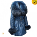 Womens Raccoon Fur Leather Down Coats CW685529 - CWMALLS.COM