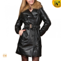 Womens Raccoon Fur Long Leather Down Coats CW685038 - CWMALLS.COM