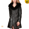 Womens Rabbit Fur Hooded Leather Down Coat CW685041 - CWMALLS.COM