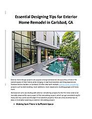 Essential Designing Tips for Exterior Home Remodel in Carlsbad, CA