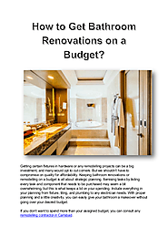 How to Get Bathroom Renovations on a Budget
