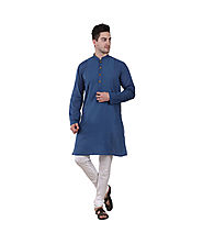 Teal Blue Cotton Embroidered Long Kurta for Men