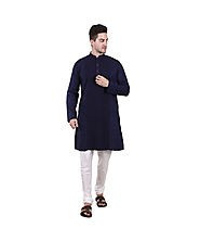 Royal Blue Cotton Embroidered Long Kurta for Men
