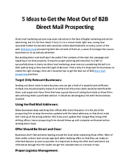 5 Ideas to Get the Most Out of B2B Direct Mail Prospecting