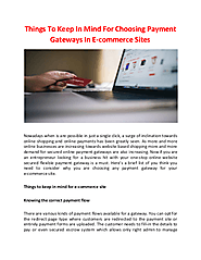 Things To Keep In Mind For Choosing Payment Gateways In E-commerce Sites