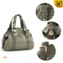 Ladies Gray Leather Hobo Handbags CW219165 - CWMALLS.COM