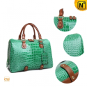 Ladies Green Leather Handbags CW219077 - CWMALLS.COM