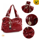 Red/Black Leather Shoulder Handbags CW219136 - CWMALLS.COM
