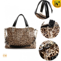 Leopard Print Leather Handbags CW300204 - CWMALLS.COM