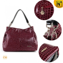 Women Black/Red Leather Shoulder Handbags CW300202 - CWMALLS.COM