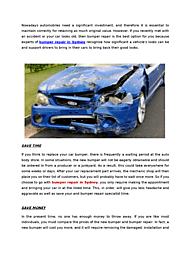 Advantages of Using Bumper Repair Services in Sydney