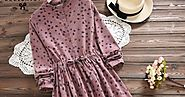 Women Elbise Casual Loose Long Sleeve Leaves Printed Drawstring Waist Dress - Secret Shopping Stuff