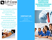 Phlebotomy Certificate Training Program in Birmingham | S P Care Phlebotomy Training (Group)