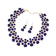 Azure Blue Crystal Alloy Statement Necklace Set – SimplyMaelle