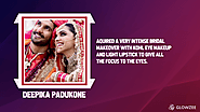 • Deepika Padukone—aquired a very intense bridal makeover with kohl eye makeup and light lipstick to give all the foc...
