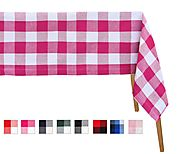 Buffalo Checked Tablecloths - Pink and White Check Tablecloth, Large Rectangle Tablecloth (69x126) - All Cotton and L...