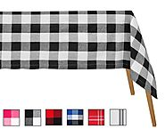 Buffalo Checked Tablecloths - Cotton tablecloths - Black and White - Buffalo Paid Tablecloth- All Cotton and Linen - ...