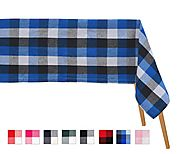 Buffalo Checked tablecloths - Blue White and Black - Checkered Tablecloth - All Cotton and Linen - Amazon
