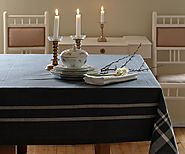 French Stripe Tablecloth - Grey, Red and Blue stripes - Cotton Tablecloths - All Cotton and Linen - Amazon