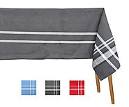 French Stripe Tablecloths - Grey Rectangular Tablecloth French Striped (63x109) - Cotton Tablecloths - All Cotton and...