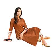Light Earth Color Cotton Embroidered Kurta With Embroidered Kurta Pant-Marigold06
