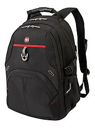 SwissGear Laptop Computer Backpack with Secure Velcro Strap Closure SA3183 (Black/Red) Fits Most 15 Inch Laptops