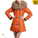 Women Leather Coat with Raccoon Fur Collar CW630358