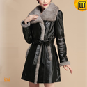 Mink Fur Trimmed Leather Coat for Women CW630310