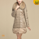 Fur Trimmed Women Leather Down Coat CW630331