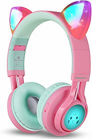 31.98$-Riwbox CT-7 Cat Ear LED Light Up Wireless Kids Headphones (Pink&Green)