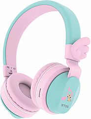 26.87$-Riwbox BT05 Wings Kids Headphones Wireless with Volume Limited (Pink&Green)