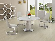 Annular Cream Small Round Extendable Dining Table