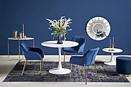 Elegant Shiny White Finish Stilo Round Dining Table