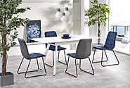 Simplistic Designed Tork White Extending Dining Table
