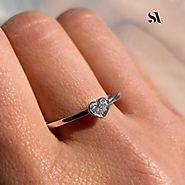 Heart Shaped Diamond Bezel Set Ring in 3 Colors | Sabrina