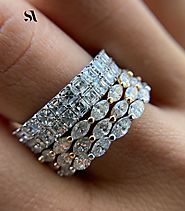 Asscher Cut Diamond 2 Row Full Eternity Band | Sabrina