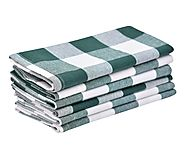Napkins - Buffalo Checked Napkins - Green and White Napkins, Cloth Dinner Napkins Set of 6 - All Cotton and Linen - A...