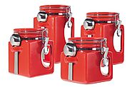 4 Piece Red Canister Sets for Kitchens